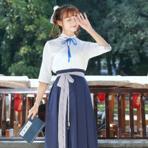 National costume / stage costume Summer of 2018 White blouse and navy skirt S M L XL Other / other 001