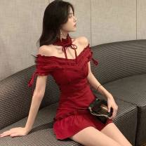 Dress Summer of 2019 Picture color S, M Middle-skirt Short sleeve One word collar Others