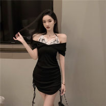 Dress Summer 2021 black S,M,L Middle-skirt singleton  Short sleeve commute V-neck High waist Solid color zipper One pace skirt routine 18-24 years old Type H Splicing