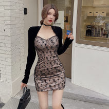 Dress Winter 2020 black S,M,L Short skirt singleton  Long sleeves commute V-neck High waist Solid color Socket One pace skirt routine Others 18-24 years old Type H backless polyester fiber