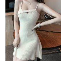 Dress Summer 2021 Khaki, black S,M,L,XL Short skirt singleton  Sleeveless commute V-neck High waist Solid color Socket A-line skirt other camisole 18-24 years old Type A Korean version Hollowed out, bare back 81% (inclusive) - 90% (inclusive) knitting cotton