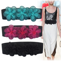 Belt / belt / chain cloth Off white, gray, black, rose red, yellow, light green, lake blue, light brown, pink female Waistband Versatile Single loop Middle age, youth, youth Smooth button Flower design soft surface 6cm alloy Flower, elastic, thick thread decoration, lace, weaving, bare body
