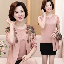 Middle aged and old women's wear Spring 2021 Light purple, camel, bean paste, pink M,L,XL,XXL,XXXL,XXXXL fashion suit Straight cylinder Two piece set Decor 40-49 years old Cardigan moderate Crew neck routine routine Diamond inlay other 31% (inclusive) - 50% (inclusive)