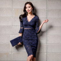 Dress Autumn of 2019 blue S,M,L,XL Middle-skirt singleton  three quarter sleeve commute V-neck middle-waisted Solid color zipper One pace skirt pagoda sleeve Others 25-29 years old Type H Other / other Korean version Hollow, lace 31% (inclusive) - 50% (inclusive) Lace cotton