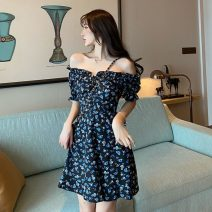 Women's large Summer 2021 Picture color It is suggested that the size of the recommended size is 120-40kg, and it is recommended to use the size of 120-40kg Dress Sweet thin Socket Short sleeve V-neck Pile sleeve 18-24 years old fungus 31% (inclusive) - 50% (inclusive) Short skirt zipper college