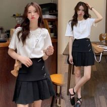 Women's large Summer 2021 White top, black skirt M. Large L, large XL, 2XL, 3XL, 4XL T-shirt Two piece set commute Straight cylinder Socket Short sleeve Solid color Korean version Crew neck routine cotton routine 18-24 years old 31% (inclusive) - 50% (inclusive) Short skirt Pleated skirt bow