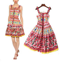 Dress Summer of 2019 Decor S,M,L,XL Mid length dress singleton  Sleeveless street One word collar middle-waisted Decor zipper A-line skirt other camisole 25-29 years old Type A 51% (inclusive) - 70% (inclusive) other polyester fiber Europe and America