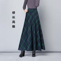 skirt Autumn 2020 S [95 Jin], m [95 ~ 100 Jin], l [100 ~ 110 Jin], XL [100 ~ 120 Jin], 2XL [120 ~ 130 Jin], 3XL [130 ~ 140 Jin], 4XL [140 ~ 150 Jin] Red [1062a], green [1062b], blue [lattice C], khaki [lattice D], dark blue [1122a], gray [1122b], blue yellow [1103a] longuette commute High waist 1062#