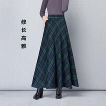 skirt Autumn 2020 S [95 Jin], m [95 ~ 100 Jin], l [100 ~ 110 Jin], XL [100 ~ 120 Jin], 2XL [120 ~ 130 Jin], 3XL [130 ~ 140 Jin], 4XL [140 ~ 150 Jin] Red [1062a], green [1062b], blue [lattice C], khaki [lattice D], dark blue [1122a], gray [1122b], blue yellow [1103a] longuette commute High waist 1062#