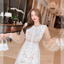 Dress Spring 2021 Apricot S,M,L Mid length dress singleton  Long sleeves commute Crew neck High waist Solid color zipper A-line skirt puff sleeve 25-29 years old Type A Other / other lady U210202 31% (inclusive) - 50% (inclusive)