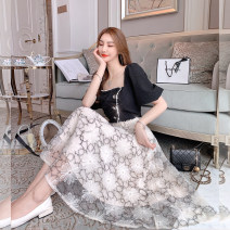 Dress Summer 2021 black S,M,L Mid length dress singleton  Short sleeve commute square neck High waist Socket A-line skirt puff sleeve Others 25-29 years old Type A Other / other lady U210205 31% (inclusive) - 50% (inclusive)