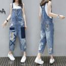 Jeans Summer 2020 blue S,M,L,XL,2XL,3XL Ninth pants High waist rompers Thin money Worn, worn, pattern, button, contrast Cotton denim light colour Other / other 51% (inclusive) - 70% (inclusive)