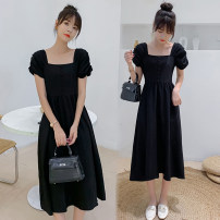 Dress Summer 2021 black M,L,XL,2XL Middle-skirt singleton  Short sleeve commute square neck High waist Solid color Socket A-line skirt routine Others Type A Korean version 71% (inclusive) - 80% (inclusive) brocade cotton
