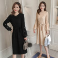 Dress Autumn of 2019 Black, off white M,L,XL,2XL Mid length dress singleton  Long sleeves commute Crew neck High waist Solid color Socket A-line skirt routine Others Type A Korean version 71% (inclusive) - 80% (inclusive) knitting polyester fiber