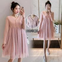 Dress Spring 2021 Pink (open button) M,L,XL,2XL Short skirt singleton  Long sleeves commute V-neck High waist Solid color Socket A-line skirt routine Others Type A Korean version Splicing, mesh 71% (inclusive) - 80% (inclusive) brocade polyester fiber