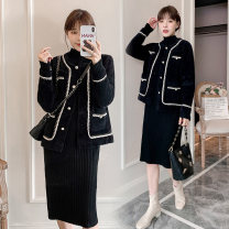 Dress Autumn 2020 Black one piece skirt M,L,XL,2XL Mid length dress singleton  Long sleeves commute Crew neck High waist Solid color Socket A-line skirt routine Others Type A Korean version More than 95% knitting acrylic fibres