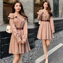 Dress Spring 2021 Picture color M,L,XL,2XL Short skirt singleton  Long sleeves commute Crew neck High waist lattice Socket A-line skirt routine Others Type A Korean version Splicing More than 95% brocade polyester fiber
