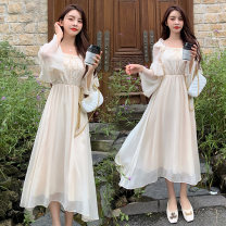 Dress Autumn 2020 Apricot M,L,XL,2XL Mid length dress singleton  Long sleeves commute square neck High waist Socket A-line skirt routine Others Type A Korean version Stitching, lace 71% (inclusive) - 80% (inclusive) Chiffon polyester fiber
