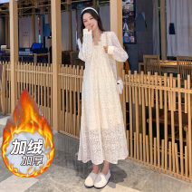 Dress Winter 2020 Apricot without velvet, apricot with velvet M,L,XL,2XL Mid length dress singleton  Long sleeves commute V-neck High waist Solid color Socket A-line skirt routine Others Type A Korean version Flocking, lace 71% (inclusive) - 80% (inclusive) Lace polyester fiber