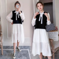 Dress Spring 2021 white M,L,XL,2XL Mid length dress singleton  Long sleeves commute Crew neck High waist Solid color Socket A-line skirt routine Others Type A Korean version Splicing 71% (inclusive) - 80% (inclusive) Chiffon polyester fiber