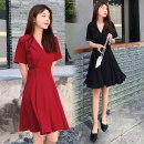 Dress Summer 2020 Black, red M,L,XL,2XL Short skirt singleton  Short sleeve commute V-neck High waist Solid color Socket A-line skirt routine Others Type A Korean version 71% (inclusive) - 80% (inclusive) brocade cotton