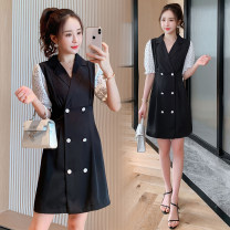 Dress Summer 2021 black M,L,XL,2XL Short skirt singleton  three quarter sleeve commute tailored collar High waist Solid color double-breasted A-line skirt routine Others Type A Korean version Button More than 95% Chiffon polyester fiber