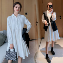 Dress Spring 2021 White single skirt, black single vest, dress + vest M,L,XL,2XL Middle-skirt Two piece set Long sleeves commute Polo collar High waist Solid color Single breasted A-line skirt routine Others Type A Korean version Button More than 95% Chiffon polyester fiber