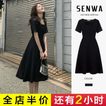 Women's large Summer 2021 Dress singleton  Sweet Self cultivation moderate Socket Short sleeve Solid color square neck Three dimensional cutting routine E6-16HSM6002-B Senwa 18-24 years old Button Medium length Polyester 95% polyurethane elastic fiber (spandex) 5% Pure e-commerce (online only)
