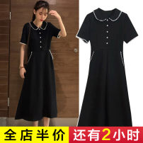 Women's large Summer 2021 1602 black polo collar dress-1 [Summer slim dress] 1598 black dress-1 [dress women's summer] Dress singleton  commute easy moderate Socket Short sleeve Korean version Polo collar Medium length Three dimensional cutting routine ADDM6643 Senwa 18-24 years old pocket longuette