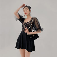 one piece  Princess surana M,L,XL black Skirt one piece Steel strap breast pad female Short sleeve Casual swimsuit Solid color