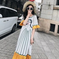 Dress Summer of 2019 Catwoman Print White S,M,L,XL Mid length dress singleton  Short sleeve commute Crew neck Loose waist Cartoon animation Socket Pleated skirt Petal sleeve Others Type H Other / other Korean version Fold, print Chiffon