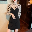 Dress Summer 2021 black S M L Short skirt singleton  Long sleeves commute Crew neck High waist Dot Socket A-line skirt routine camisole 18-24 years old Type A aubnu Splicing 323XL3 More than 95% other Other 100%