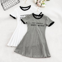 Dress Summer of 2019 White, black, grey Average size Short skirt singleton  Short sleeve Sweet Crew neck High waist letter A-line skirt routine Others 18-24 years old Type A 31% (inclusive) - 50% (inclusive)