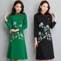 Dress Winter of 2018 Green, black XL,2XL,3XL,4XL,5XL,6XL Miniskirt singleton  Long sleeves commute stand collar Loose waist Decor Socket other routine Others 40-49 years old Type A Other / other ethnic style Embroidery 81% (inclusive) - 90% (inclusive) other cotton
