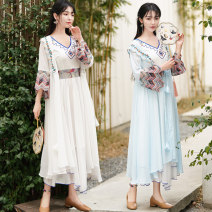 Lace / Chiffon Summer 2021 White, blue Average size Long sleeves commute Cardigan singleton  easy Medium length V-neck Solid color routine 25-29 years old Embroidery ethnic style 71% (inclusive) - 80% (inclusive) polyester fiber