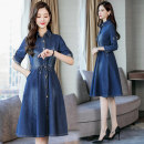 Dress Spring 2021 Picture color S,M,L,XL,2XL Mid length dress singleton  three quarter sleeve commute Polo collar Elastic waist Solid color Single breasted A-line skirt other Others Type A Other / other Korean version Button, pocket Denim