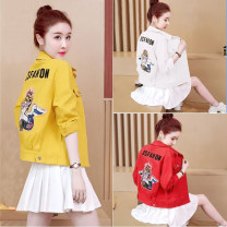 short coat Autumn of 2019 S,M,L,XL,2XL,3XL,4XL,5XL White, red, yellow Long sleeves routine routine singleton  easy Sweet routine Polo collar Single breasted letter 18-24 years old Other / other 31% (inclusive) - 50% (inclusive) Embroider, stick cloth nylon cotton
