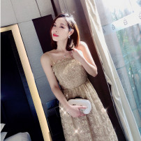 Dress Summer 2020 golden S,M,L longuette singleton  Sleeveless commute One word collar High waist Solid color Socket Big swing routine camisole 25-29 years old Type A Immortal dust court Hollow, open back, three-dimensional decoration, Sequin, zipper, 3D More than 95% Lace other