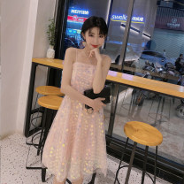 Dress Summer 2021 Pink S,M,L Mid length dress singleton  Sleeveless commute One word collar High waist other Socket Big swing routine camisole 25-29 years old Type A Immortal dust court More than 95% Lace other