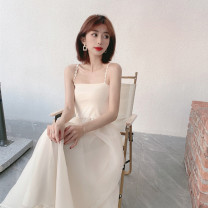 Dress Spring 2021 Apricot S,M,L longuette singleton  Sleeveless commute One word collar High waist Solid color Socket A-line skirt routine camisole 25-29 years old Type A Immortal dust Retro More than 95% Lace other