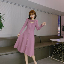 Dress Autumn 2021 Purple, black, apricot S,M,L Mid length dress singleton  Long sleeves commute Crew neck middle-waisted Solid color Single breasted Big swing routine Others 25-29 years old Type A Immortal dust Retro Stitching, stereo decoration, buttons, 3D More than 95% knitting other