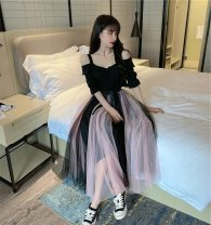 Dress Autumn 2021 black S,M,L longuette Two piece set Sleeveless commute One word collar Elastic waist Solid color Socket Big swing routine camisole 25-29 years old Type A Immortal dust Retro Bowknot, tridimensional decoration, mesh, lace, 3D More than 95% Lace other