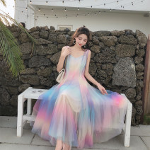 Dress Summer 2021 Rainbow pink, rainbow Pink Long Sleeve S,M,L longuette Two piece set Sleeveless commute V-neck middle-waisted other Socket Big swing routine camisole 25-29 years old Type A Immortal dust Retro Mesh, zipper, lace, 3D More than 95% Lace other