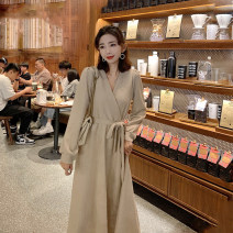 Dress Spring 2021 Apricot, black S,M,L,XL Mid length dress singleton  Long sleeves commute V-neck middle-waisted Solid color Socket Big swing routine Others 25-29 years old Type A Immortal dust Retro Lace up, three-dimensional decoration, 3D More than 95% knitting other