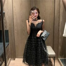 Dress Summer 2021 Black, purple S,M,L Mid length dress singleton  Long sleeves commute Crew neck High waist Solid color Socket Big swing routine Others 25-29 years old Type A Immortal dust Retro More than 95% Lace other
