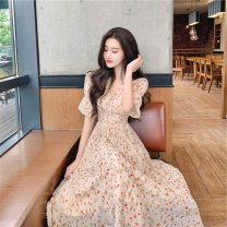 Dress Summer 2021 Decor S,M,L Mid length dress singleton  Short sleeve commute V-neck middle-waisted Decor Socket Big swing pagoda sleeve Others 25-29 years old Type A Immortal dust Retro More than 95% Chiffon other