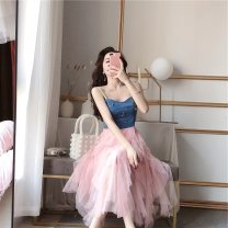 Dress Summer 2020 Black, pink S,M,L Mid length dress singleton  Sleeveless commute V-neck High waist Solid color Socket Big swing routine camisole 18-24 years old Type A Immortal dust Retro Backless, stitching, three-dimensional decoration, mesh, zipper, lace, 3D More than 95% Lace other