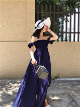 Dress Autumn 2016 Dark blue stock longuette singleton  Short sleeve commute One word collar High waist Solid color Socket Princess Dress Lotus leaf sleeve Breast wrapping 25-29 years old Type A Retro backless
