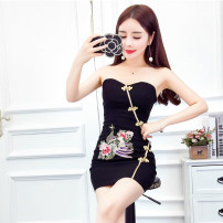 Dress Summer 2021 White, red, black Average size Short skirt singleton  Sleeveless street middle-waisted Socket Pencil skirt Breast wrapping 18-24 years old Type X Other / other backless 6-29 Europe and America