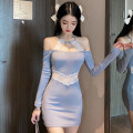 Dress Summer 2021 blue S,M,L Short skirt singleton  Long sleeves commute Crew neck Elastic waist Solid color One pace skirt routine Hanging neck style 18-24 years old Other / other Korean version JZ112413 81% (inclusive) - 90% (inclusive)